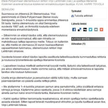 Ilkka-lehdessä 2013 ilmestynyt juttu E-P:n Steiner-koulusta.