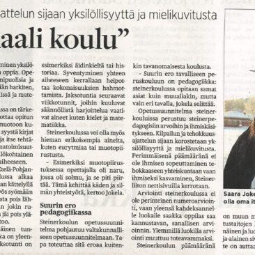 vuonna 2013 Keski-Pohjanmaa -lehdessä ilmestynyt juttu steinerkoulussa opiskelemisesta.